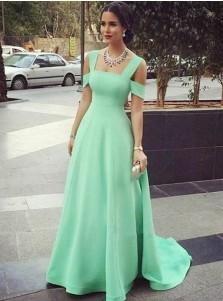 A-Line Cold Shoulder Mint Green Satin Prom Dress