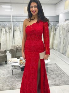 Mermaid One Shoulder Red Lace Prom Dress with Split