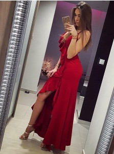 Mermaid Spaghetti Straps Red Satin Prom Dress with Ruffles