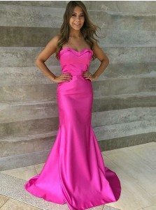 Mermaid Strapless Sweep Train Fuchsia Satin Prom Dress