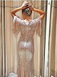 Sheath Scoop Rose Gold Sequined Evening Prom Dress