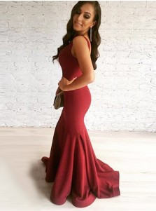Mermaid Scoop Sleeveless Sweep Train Red Satin Prom Dress