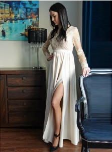 A-Line Round Neck White Satin Prom Dress with Appliques Split
