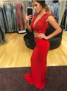 Two Piece V-Neck Open Back Red Satin Prom Dress with Beading