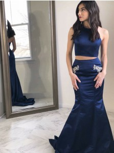 Two Piece Round Neck Navy Blue Satin Prom Dress with Pockets Beading