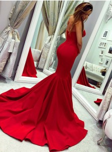 Mermaid Sweetheart Sweep Train Red Satin Prom Dress