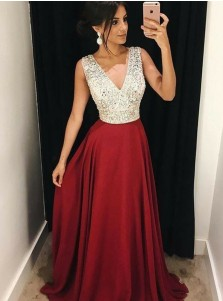 A-Line V-Neck Sweep Train Red Satin Prom Dress with Beading