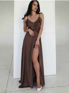 Spaghetti Straps Long Chocolate Prom Party Dress with Ruffles Split