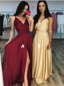A-Line V-Neck Dark Red Long Prom Party Dress with Split
