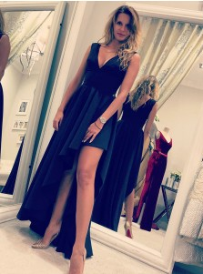 A-Line V-Neck High Low Pleated Black Satin Prom Dress