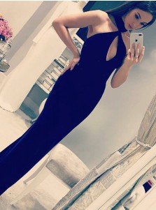 Sheath Halter Long Black Satin Prom Party Dress with Keyhole