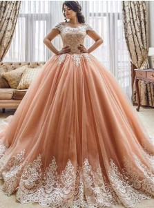 Ball Gown Off-the-Shoulder Coral Tulle Quinceanera Dress with Appliques