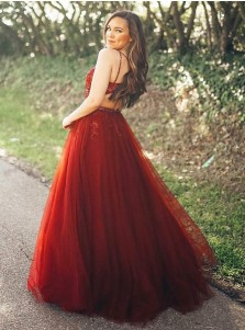 A-Line Spaghetti Straps Red Prom Party Dress with Appliques Beading