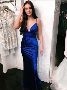 Sheath Spaghetti Straps Royal Blue Satin Prom Party Dress
