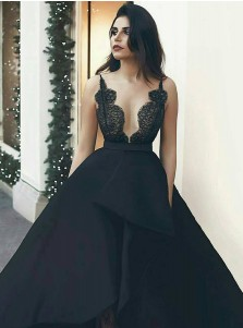 A-Line Scalloped-Edge Asymmetry Black Satin Prom Dress with Lace