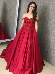 A-Line Off-the-Shoulder Detachable Train Red Satin Prom Dress with Appliques Beading
