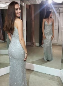 Sheath Spaghetti Straps Sweep Train Silver Sequined Prom Dress