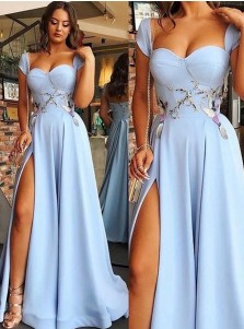 A-Line Sweetheart Blue Satin Long Prom Dress with Appliques Split
