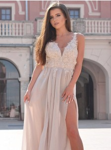 A-Line V-Neck Light Champagne Chiffon Prom Dress with Appliques Split