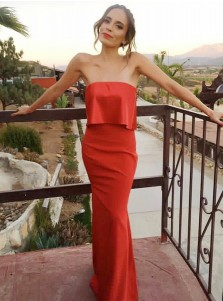 Sheath Strapless Red Satin Long Prom Party Dress