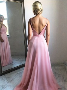 Flowing A-Line V-Neck Sweep Train Pink Chiffon Prom Party Dress