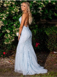 Mermaid Spaghetti Straps Blue Tulle Evening Dress Long Prom Dress with Appliques
