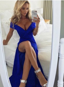 Mermaid Off-the-Shoulder Royal Blue Satin Prom Dress with Split
