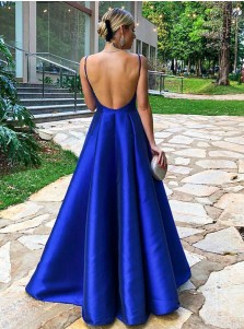 58e44bf0756 ... A-Line Spaghetti Straps Floor Length Royal Blue Satin Prom Party Dress