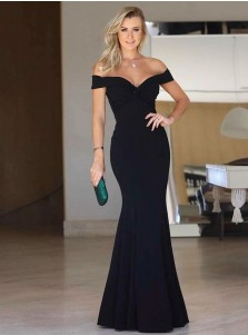 Mermaid Off-the-Shoulder Long Black Satin Prom Party  Dress
