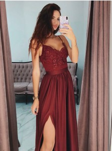A-Line Spaghetti Straps Long Burgundy Prom Party Dress with Lace Sequins