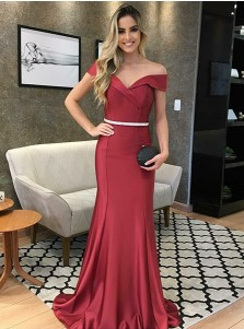 Modest Mermaid Off Shoulder Burgundy Sweep Train Prom Evening Dress with Belt