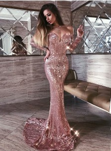 Mermaid Off Shoulder Rose Gold Sequined Long Sleeves Prom Evening Dress