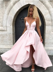 Chic Spaghetti Straps Split V-neck Pink Formal Prom Party Dress