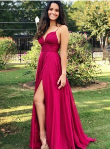 Generous Spaghetti Straps V-Neck Sweep Train Burgundy Split Prom Dress