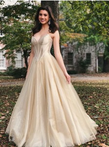 Elegant Sweetheart Light Champagne Prom Evening Dress