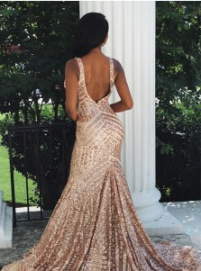 Modest Mermaid V-neck Sleeveless Rose Gold Backless Sequined Prom Dress