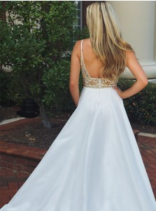 Serious V-neck Sleeveless Beaded Top Backless Prom Evening Dress