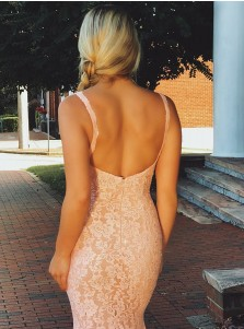 Mermaid V-neck Sleeveless Pink Lace Backless Prom Dress Beaded