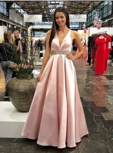 Elegant Pink Deep V-neck Sleeveless Open Back Beaded Prom Evening Dress