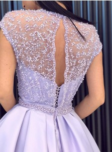 Glamour Jewel Cap Sleeves Split Lavender Prom Dress with Beading
