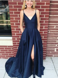 Generous V-neck Sleeveless Navy Blue Split Front Sweep Train Prom Party Dress with Pockets