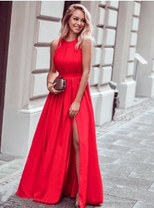 Elegant Jewel Sleeveless Red Split Front Prom Dress