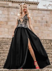 Generous Scoop Sleeveless Black Split Prom Dress with Appliques