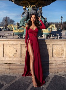 Charming Off Shoulder Long Sleeves Split Burgundy Prom Evening Party Dress