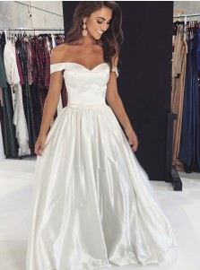 Elegant A-line Off Shoulder White Floor-Length Prom Party Evening Dress
