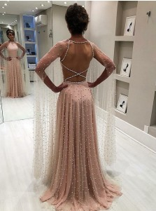 Modest A-line Jewel Long Sleeves Sweep Train Criss Cross Back Pink Prom Evening Dress with Pearls
