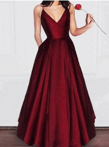 Elegant Spaghetti Straps Burgundy Floor-Length Prom Evening Dress with Pockets
