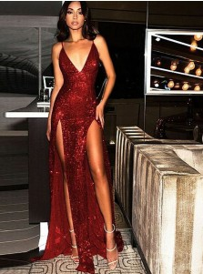 Elegant Spaghetti Straps Tight Split Dark Red Sequined Prom Evening Party Dresses