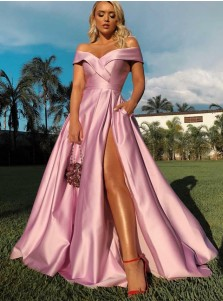 Chic Off Shoulder Pink Split Formal Floor-Length Satin Prom Party Dress with Pockets