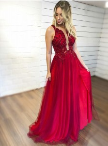 A-line Key-Hole Sleeveless High Leg Split Floor-Length Prom Evening Dresses with Appliques Beading